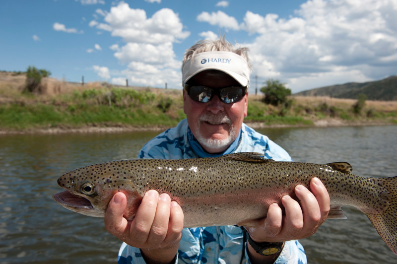 Guided fly fishing trip on the Jefferson River with Fins & Feathers of Bozeman fly  fishing guide service.