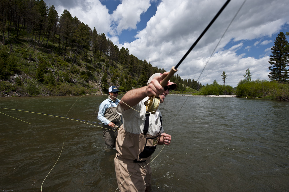 Guided fly fishing on the upper Madison River with Fins & Feathers of Bozeman fly fishing guide service and fly shop.