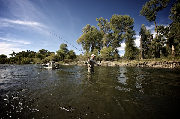 Guided fly fishing trip on the lower Gallatin River with the Montana fly fishing guides at Fins & Feathers of Bozeman.