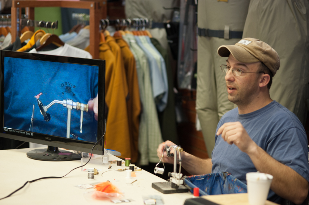 Free fly-tying demonstration at Fin & Feathers of Bozeman's fly shop every Saturday in spring 2018.